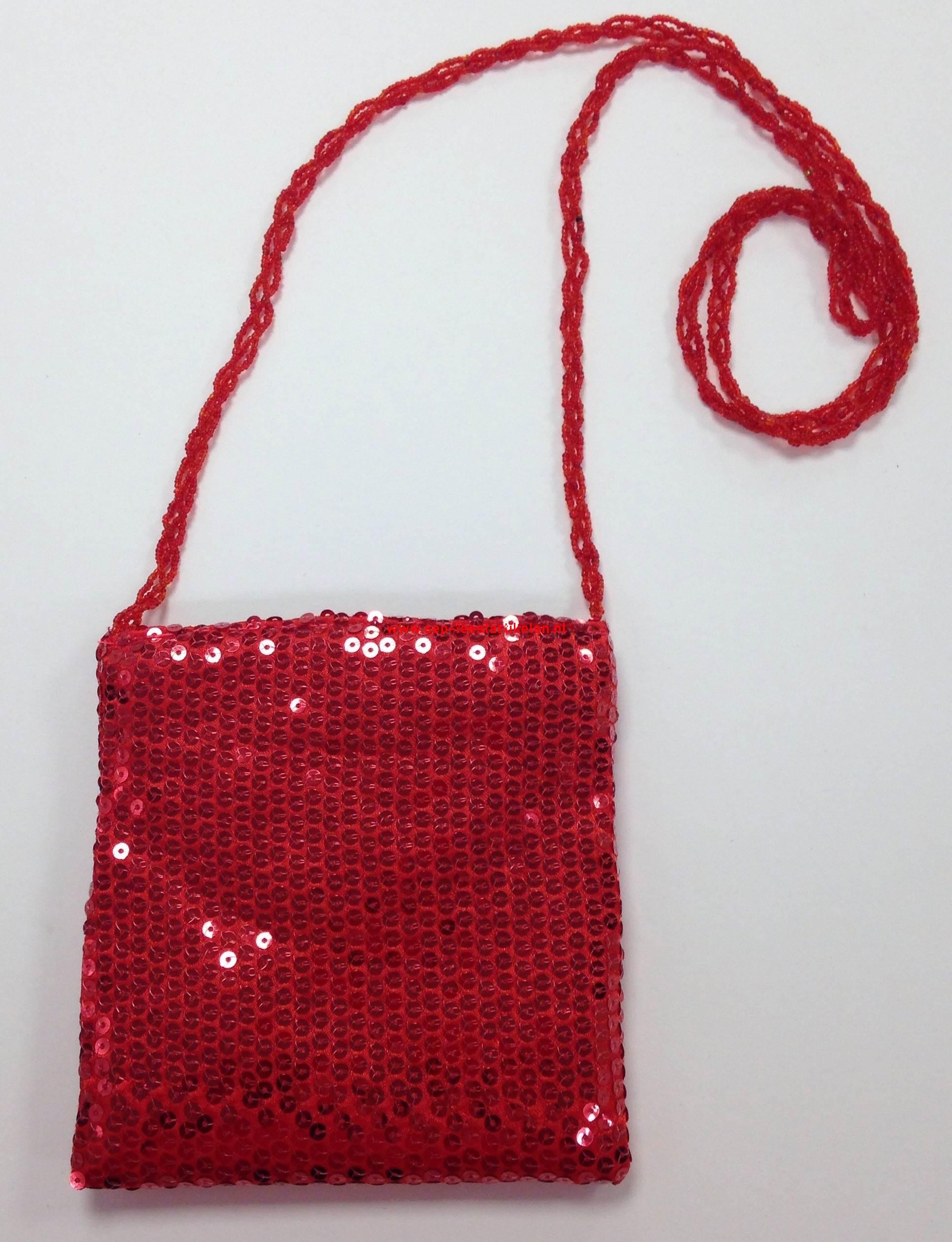 46f0700d705 Pailletten tasje rood 17x18cm. direct leverbaar! - SEP Feestartikelen