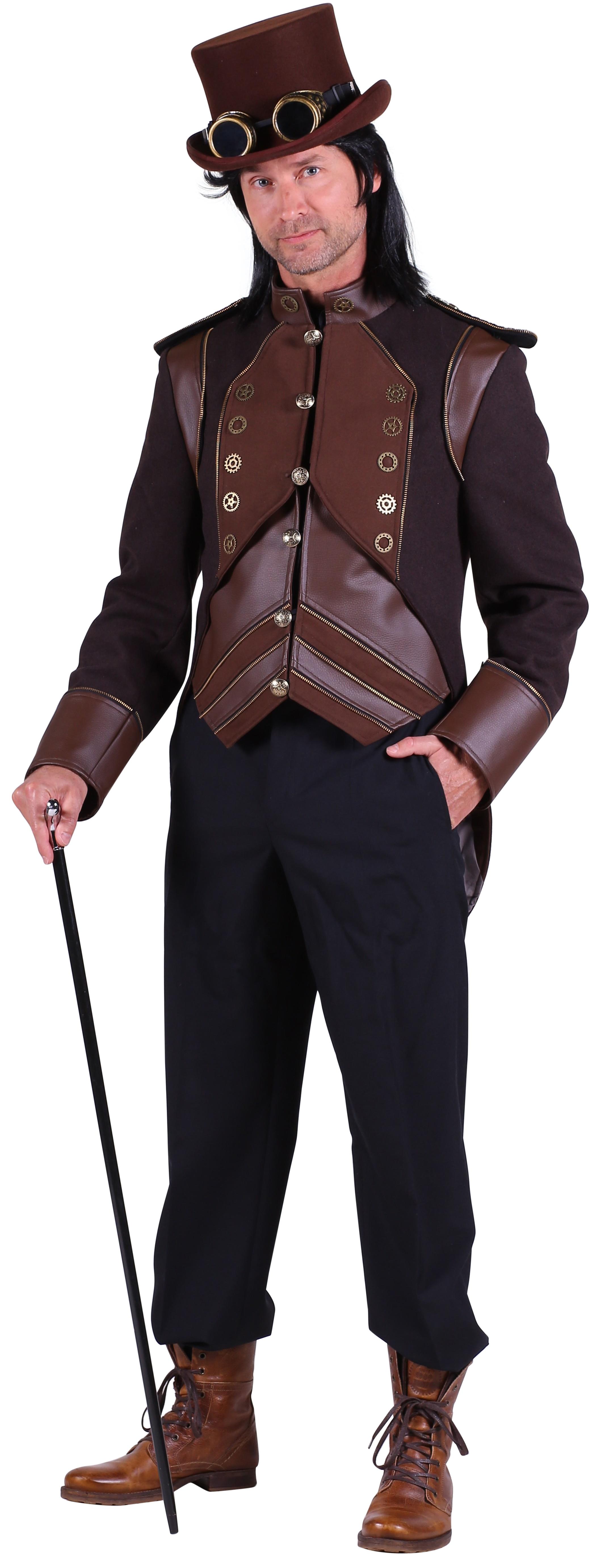 Heren Steampunk jas bruin direct leverbaar! SEP Feestartikelen