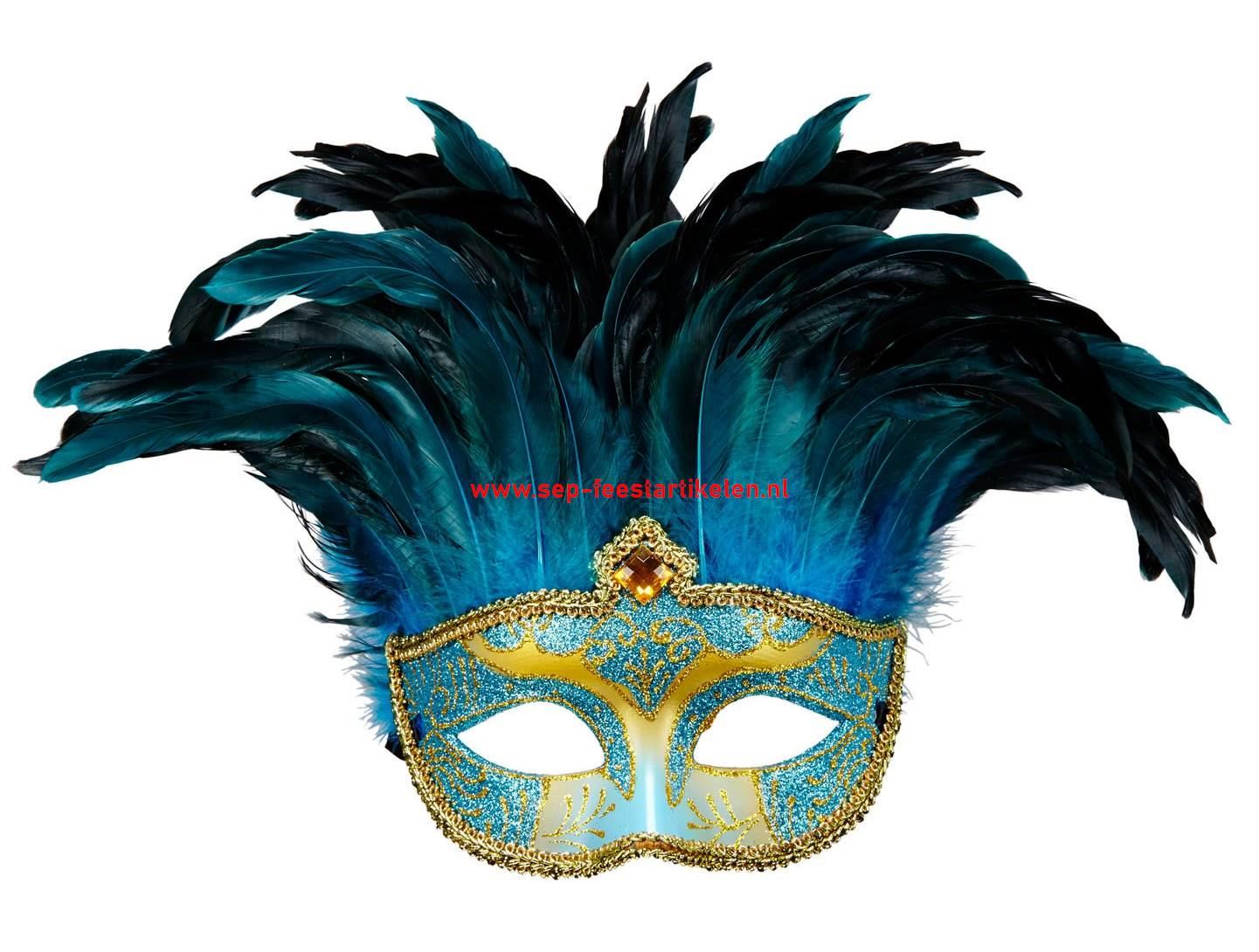 Venetiaans Masker Met Veren Blauw Direct Leverbaar Sep Feestartikelen