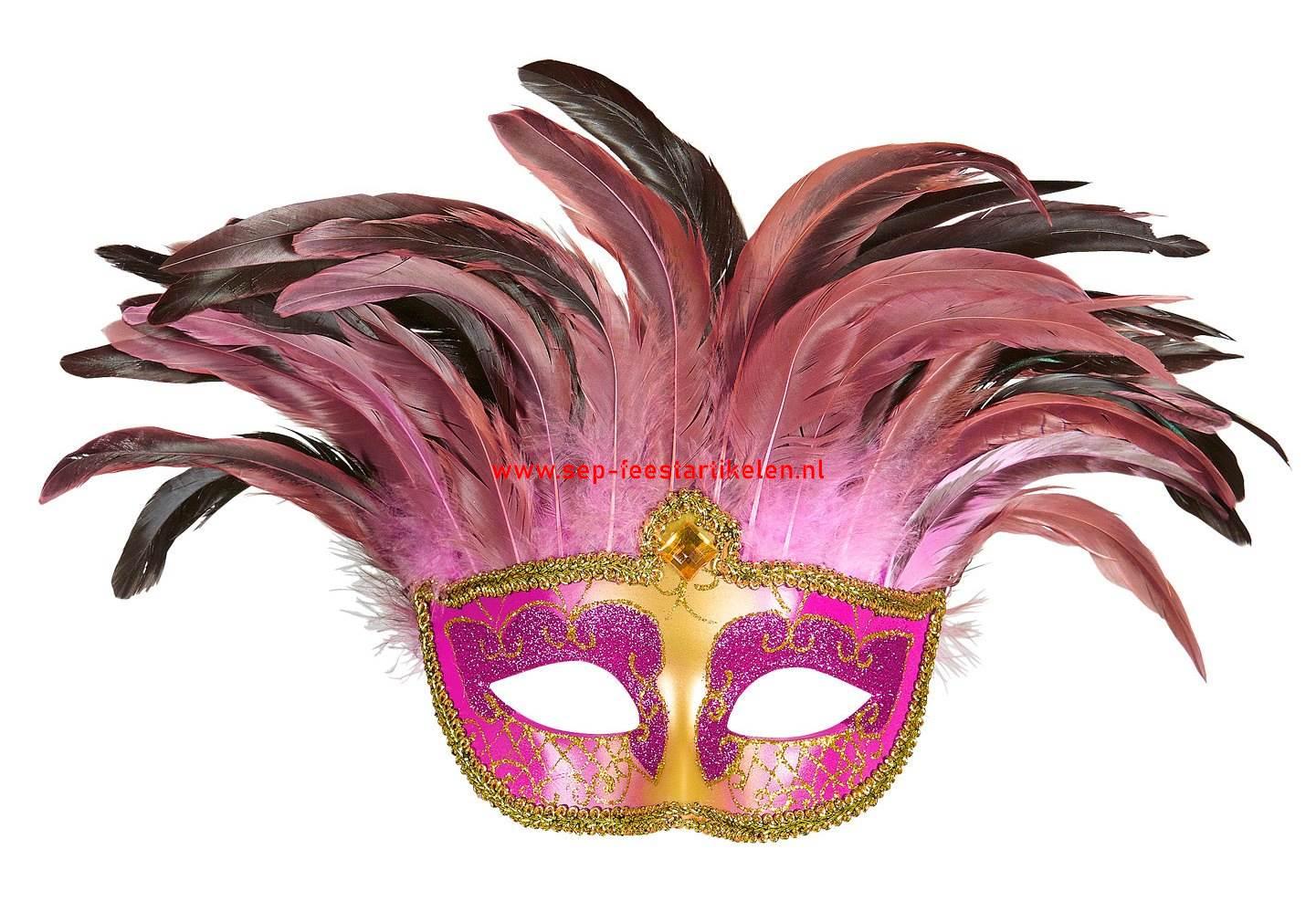 Venetiaans Masker Met Veren Pink Direct Leverbaar Sep Feestartikelen